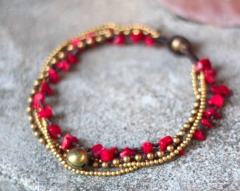 Coral Brass Chain Anklet