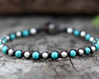 One Line Turquoise Silver Bracelet