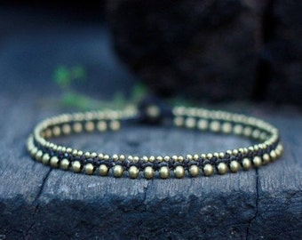 Simple Brass Beads Anklet