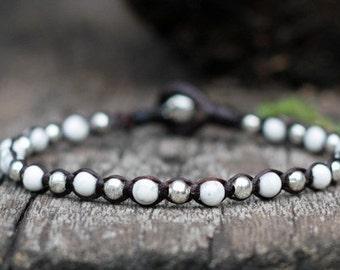 One Line Howlite Silver Bracelet
