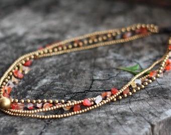 Carnelian Brass Chain Necklace