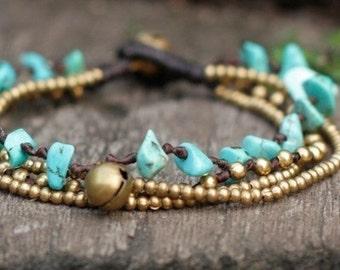 Turquoise Brass Chain Bracelet