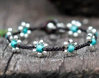 Turquoise Flower Silver Bracelet