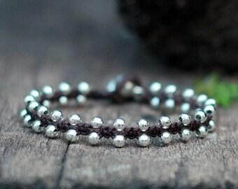Simple Silver Beads Unisex Bracelet