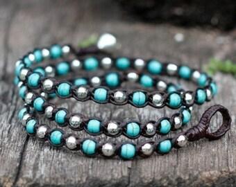 Turquoise Silver Triple Wrap Unisex Bracelet