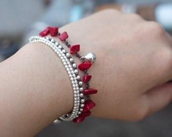 Coral Silver Chain Bracelet