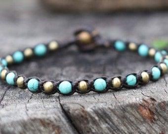 One Line Turquoise Brass Bracelet