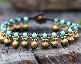 Floral Turquoise Brass Bell Bracelet