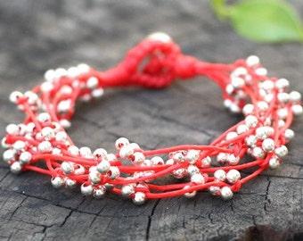 Red Silver Bind Bracelet