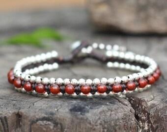 Carnelian Bead Silver Bracelet