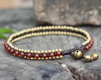 Carnelian Beads Brass Anklet