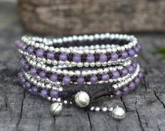 Lavender Triple Wrap Silver Bracelet