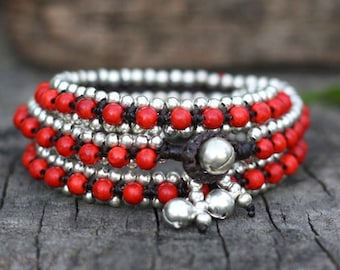 Red Turquoise Triple Wrap Silver Bracelet