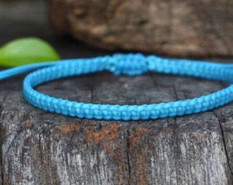 Blue Cord Knot Bracelet