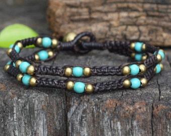 Double Turquoise Pod Brass Bracelet