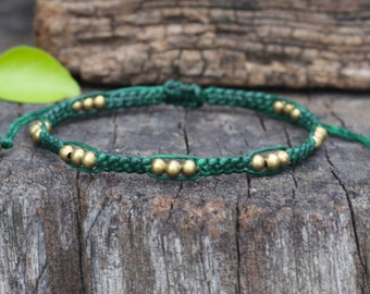Pod Brass Dark Green Knot Bracelet