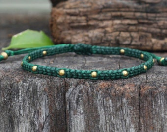 Omit Brass Dark Green Unisex Knot Bracelet