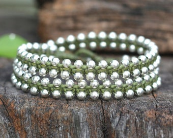 Double Wrap Silver Green Bracelet