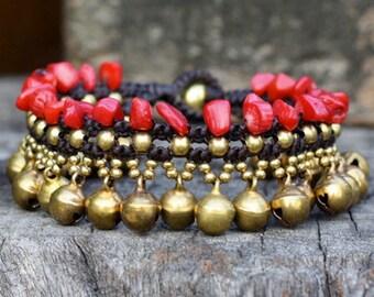 Red Coral Jasmine Brass Bracelet