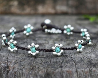 Turquoise Flower Silver Anklet