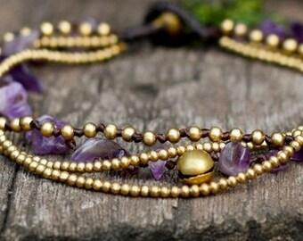 Amethyst Brass Chain Anklet