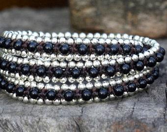 Black Triple Wrap Silver Bracelet