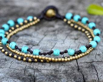 Halo Turquoise Brass Bracelet