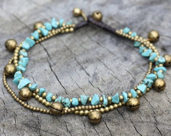 Turquoise Sunshine Brass Anklet