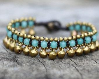Amazonite Jingling Brass Bracelet