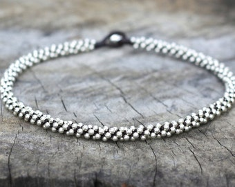 All Silver Beads Necklace