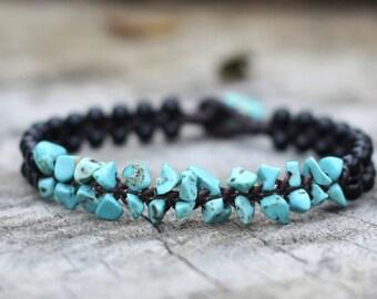 Turquoise Volcano Black Beads Bracelet