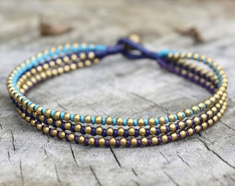 Deep Blue Brass Anklet