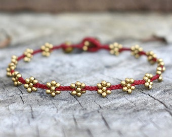 Flower Brass Red Anklet