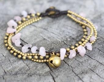 Rose Quartz Brass Chain Bracelet