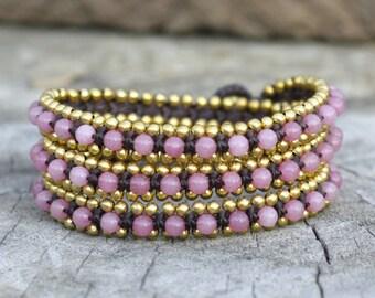 Pink Triple Wrap Brass Bracelet