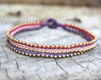 Sweet Raspberry Brass Anklet