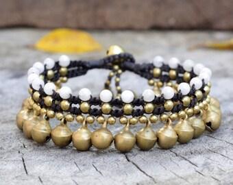 Pearl Brass Bell Dangle Bracelet