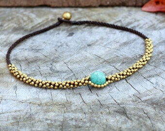 Turquoise Eye Brass Necklace