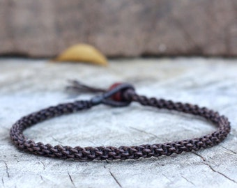 Simple Dark Brown Woven Anklet
