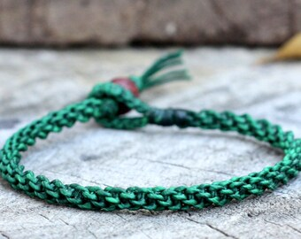 Simple Dark Green Woven Unisex Bracelet