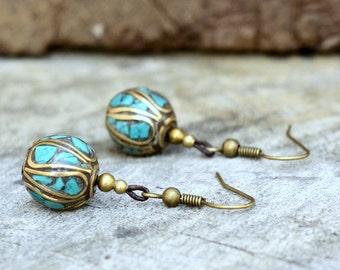 Turquoise Ball Stone Brass Dangle Earring