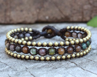 Fancy Jasper Boho Brass Bracelet