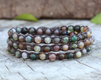 Fancy Jasper Triple Wrap Bracelet