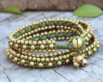 Brass Triple Wrap Green Leaf Bracelet