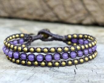 Purple Layer Brass Bracelet
