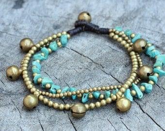Turquoise Sunshine Brass Bracelet