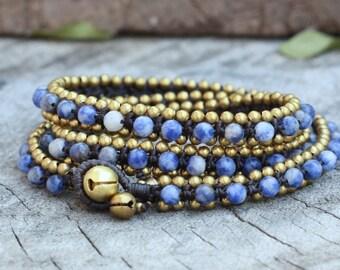 Sodalite Triple Wrap Brass Bracelet