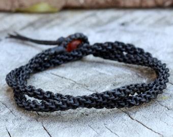 Double Wrap Black Woven Unisex Bracelet/Necklace