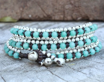 Aquamarine Truple Wrap Silver Bracelet