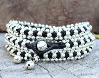 Silver Triple Wrap Black Bracelet